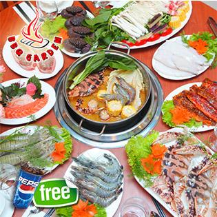 Buffet Lẩu_Nướng Hải Sản BBQ Garden _163 Phố Huế Tặng Pepsi Tươi